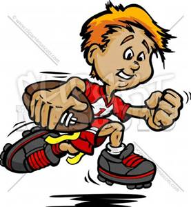 Flag Football Clipart of Boy Running with ball Vector Image